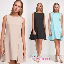 Womens Dress Sleeveless Two-Coloured Open Back Tunic Feminine UK Size 8-14 FA103