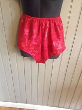 Vintage red shiny silky panties size m p3