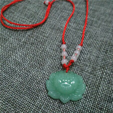 Fashion Natural Green Jade Lotus Charm Pendant Lucky Women Adjustable Necklace