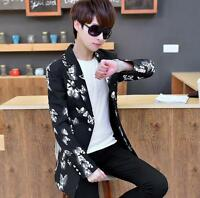 stylish mens flower printed jacket slim fit suit blazer single breasted coat new