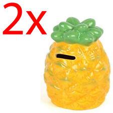 2 x ANANAS Money Box denaro monete Novità RISPARMIO SICURO BAMBINI REGALO in ceramica Fun NUOVO