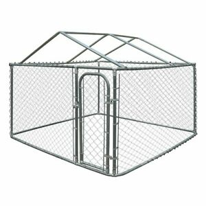 ALEKO Dog Kennel DIY Chain Link Box Kennel With Roof Frame 7.5 x 7.5 x 4 Ft