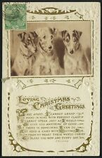 India Postcard to USA 1920s-1930s era - Christmas Greetings Dog Picture embossed