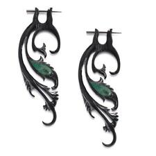 81stgeneration Black Horn Fake Taper Stretcher Turquoise Tribal Earrings