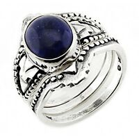 Southwestern Sterling Silver Ring Set with Lapis Size 8