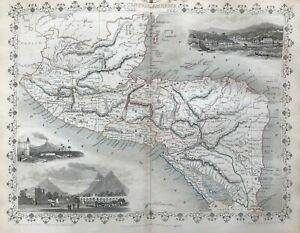 1851 Antique Map; Central America by John Tallis / Rapkin