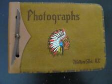 Vtg Leather Photo Album w/Native American Indian WATKINS GLEN NY (No Photos) 27p