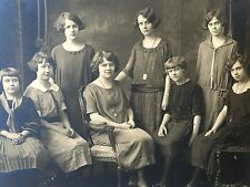 Antique Group Photo Females Posing Sitting on Chair Large 1900's Photograph