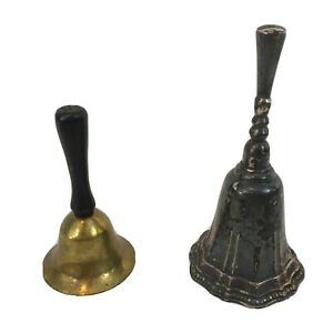 Mixed Lot of 2 Vintage Silver Copper Hand Bells