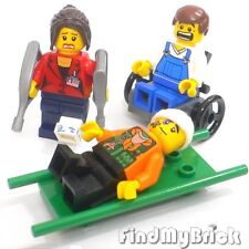 M768 Lego Hospital Injured Clumsy Minifigures with Stretcher Crutches Wheelchair