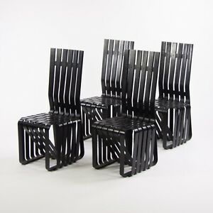 Set of Four Frank Gehry for Knoll High Sticking Dining Side Chairs Maple 1990's