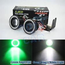 "2pcs High Power 3.0"" LED Fog Lights Projector w/ COB Angel Eye Halo Rings Green"