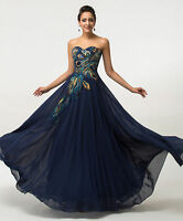 Long Maxi Peacock Masquerade Evening Ball Gowns Party Prom Dress PLUS SIZE 20-26