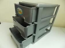 *Desk Top*3 Deep Drawers-Plastic Organizer -Gray & Gray Storage Hobbies Office