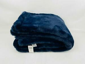 "Hudson Park Collection Faux Fur 50"" x 70"" Throw Navy $280"