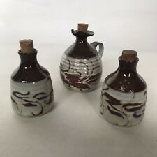 Studio Art Skegness Earthenware Pottery Salt Pepper Oil Earthy Boho Brown Swirl