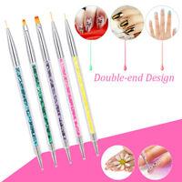 5pc/set Sequins Handle UV Gel Polish Drawing Two Head Pen Brush Nail Art Tools