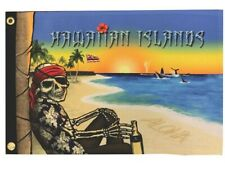 """Pirate Hawaii 12"""" x 18"""" Two Sided Durable Polyester Flag Boat Ship Motorcycle"""