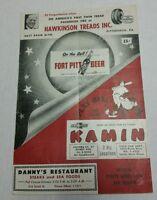 1958 PIRATES vs REDS Unscored Scorecard Clemente Robinson Mazeroski Groat