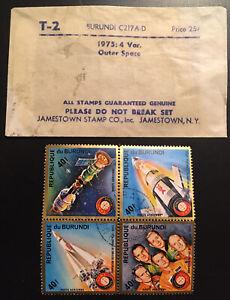 RARE JAMESTOWN Stamp Co. Burundi C217A-D 1975: 4 Var. Outer Space Apollo Soyuz