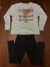 TriWizard Tournament Harry Potter Gray Top Youth M & Bl Justice Leggings Sz 12