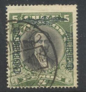 Chile airmail overprint stamp 5 Peso green and black used