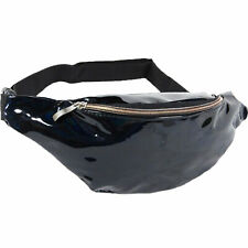 Gloss Black Iridescent Holographic Fanny Pack Shiny Waist Belt Bag
