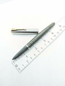 Vtg grey steel Parker 51 vacumatic fountain pen M 14k Nib - blue diamond