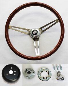 "1969-1993 Buick Skylark GS Wood Steering Wheel 15"" High Gloss Finish SS spokes"