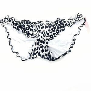 NEW Victorias Secret Bikini Bottoms Size XL Ruffle Cheeky Leopard QBT Black Gray