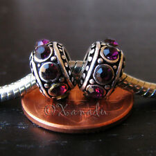2PCs Dark Plum Purple Beads For European Charm Bracelets - February Birthstones