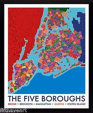 New York 5 Boroughs Map Postert Framed Print 25 x 30