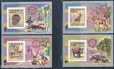 CHAD 2013 ADDAX & RHINOCEROS ROTARY SET OF FOUR DELUXE SOUVENIR SHEETS  IMPF NH
