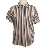Tommy Hilfiger White Red Navy Strip Blouse Ruffle Sleeve Women's Size Medium