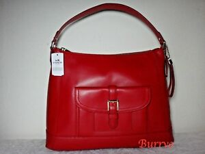 NWT Coach Charlie Leather Hobo shoulder bag, Classic Red