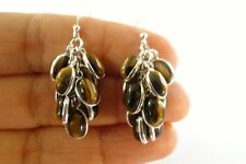 Brown Tigers Eye Cluster 925 Sterling Silver Dangle Earrings
