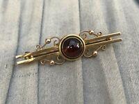 Exceptional 9ct Gold & Garnet Cabochon Bar Brooch Victorian Jewellery 9kt 4.2g