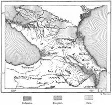Caucaso. FEBBRE distretti Caucasia, Schizzo Mappa c1885 Vecchio Antico Grafico