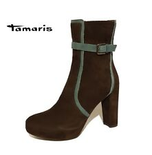 Tamaris Tan Brown Suede Genuine Leather Ankle Boots RRP £99 Ladies Uk Size 7