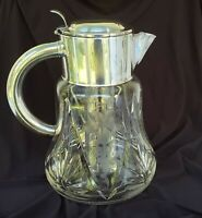 Vintage Quist Wurttenberg Cut & Etched Leaded Crystal Glass Carafe & Ice Insert