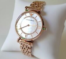 Emporio Armani Women Watch Classic Crystal Luxury Rose Gold Band Genuine AR1909