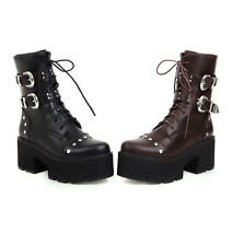 Womens Ankle Boots Platform Plus Size Spike High Heel Buckle Boots Biker Shoes