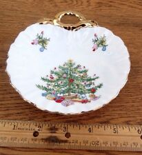 Lefton Hand Painted Candy/Nut Dish  Christmas Tree w/Presents  Bold Gold Trim