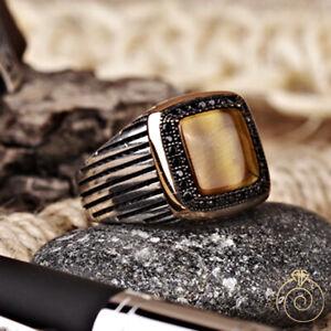Men Tiger Eye Square Ring For Man Brown Gemstone Vintage Antique Promise Jewelry