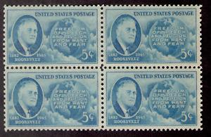 US. 933. 5c. Franklin D. Roosevelt (1882-1945) 32nd President. Block of 4. MNH.