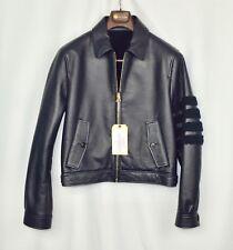 $4600 NWT New Thom Browne Harrington Dyed Shearling Coat (NAVY) Men Size 3 US40