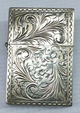 Vintage 800 Coin Silver Lighter with Ornate Floral Engravings,