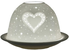 Windlicht Porzellan DL 101 HERZEN Dome Light 12 x 12 x 8 cm weiss