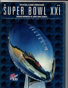1987 NFL Super Bowl XXI Denver Broncos vs. New York Giants Program
