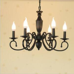 New Vintage Black Iron Chandelier Pendant Light Ceiling Lamp Nordic LED lighting